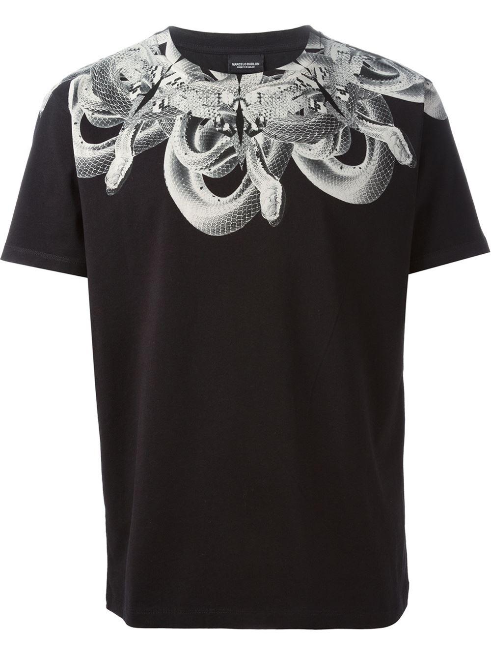Marcelo burlon snake print t shirt in black for men lyst for T shirts to print