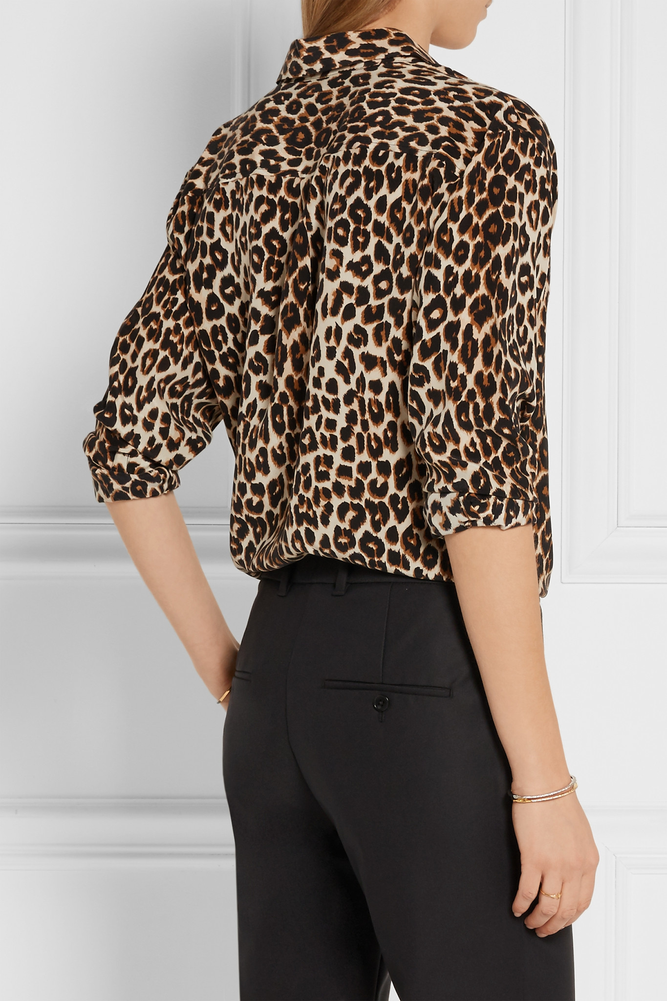 Lyst Equipment Signature Leopard Print Washed Silk Shirt