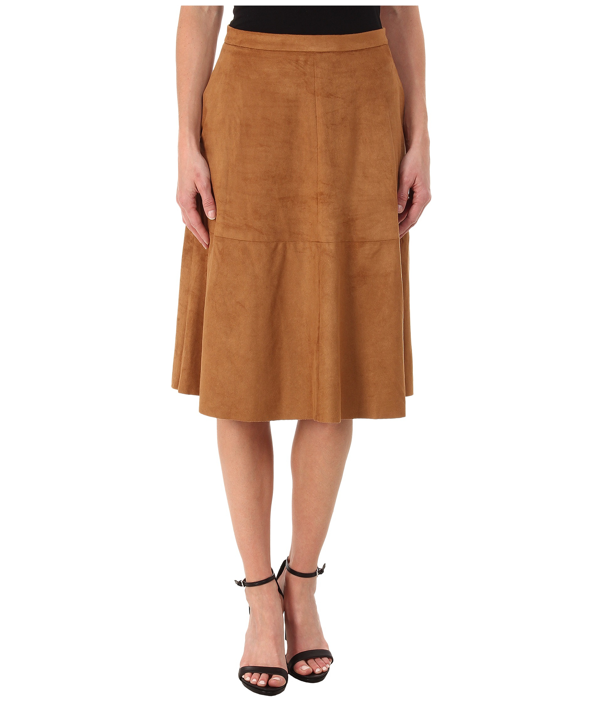 vince camuto faux suede midi skirt in brown lyst
