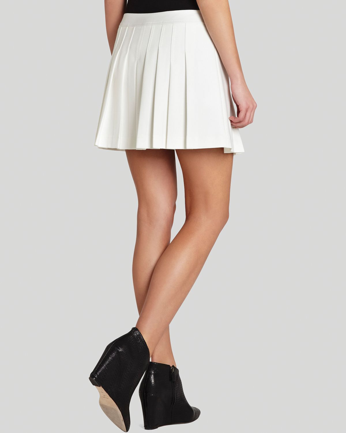 bcbgmaxazria mini skirt shane pleated in white lyst