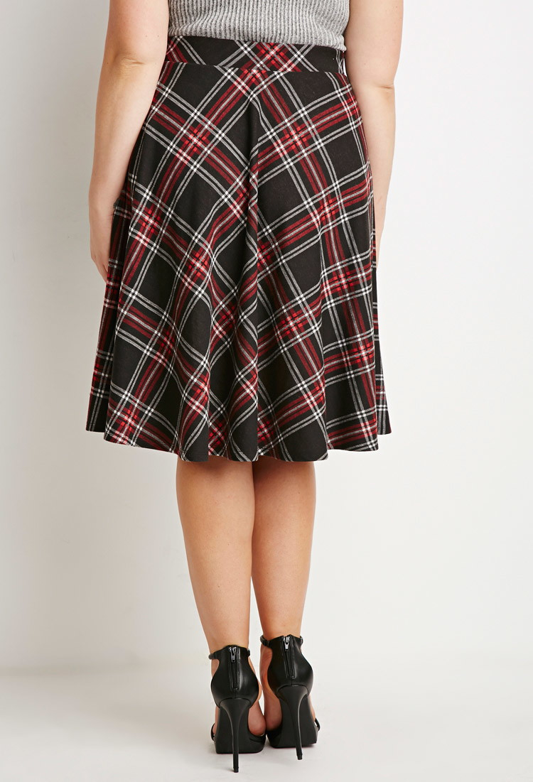 515edfed792 Forever 21 Plus Size Plaid A line Skirt in Red Lyst