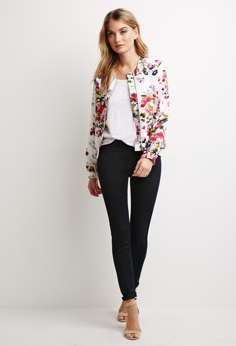 Forever 21 Contemporary Floral Print Bomber Jacket | Lyst