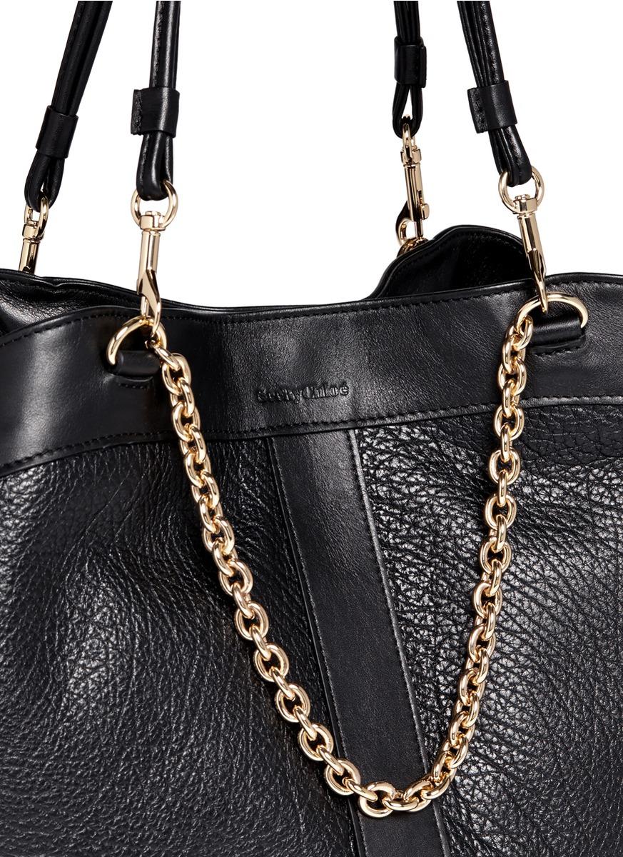 1442b50f5ef See By Chloé Black 'Beki' Medium Grainy Leather Chain Tote