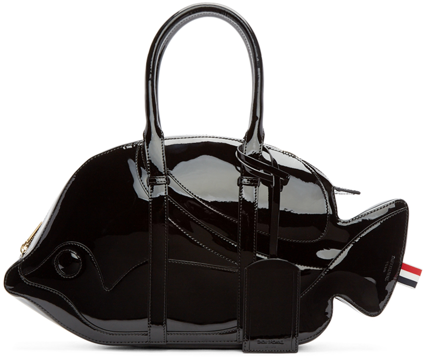 94a50c43b Thom Browne Black Patent Leather Trigger Reef Fish Duffle Bag in ...