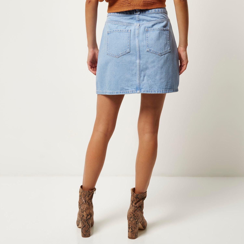 River island Light Denim Button-up A-line Skirt in Blue | Lyst