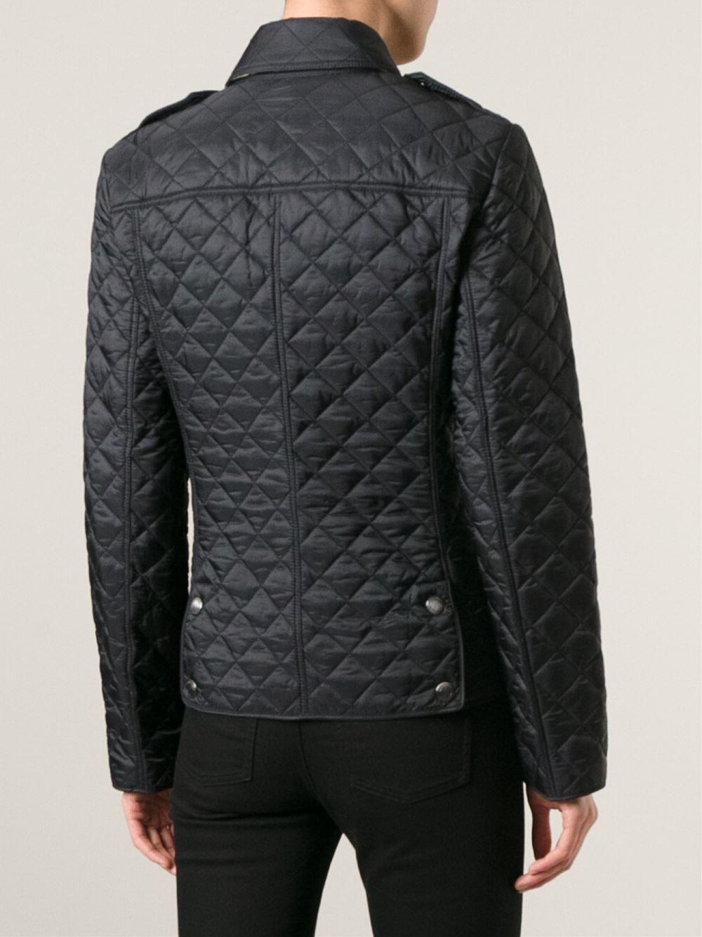 burberry brit quilted jacket in black lyst. Black Bedroom Furniture Sets. Home Design Ideas