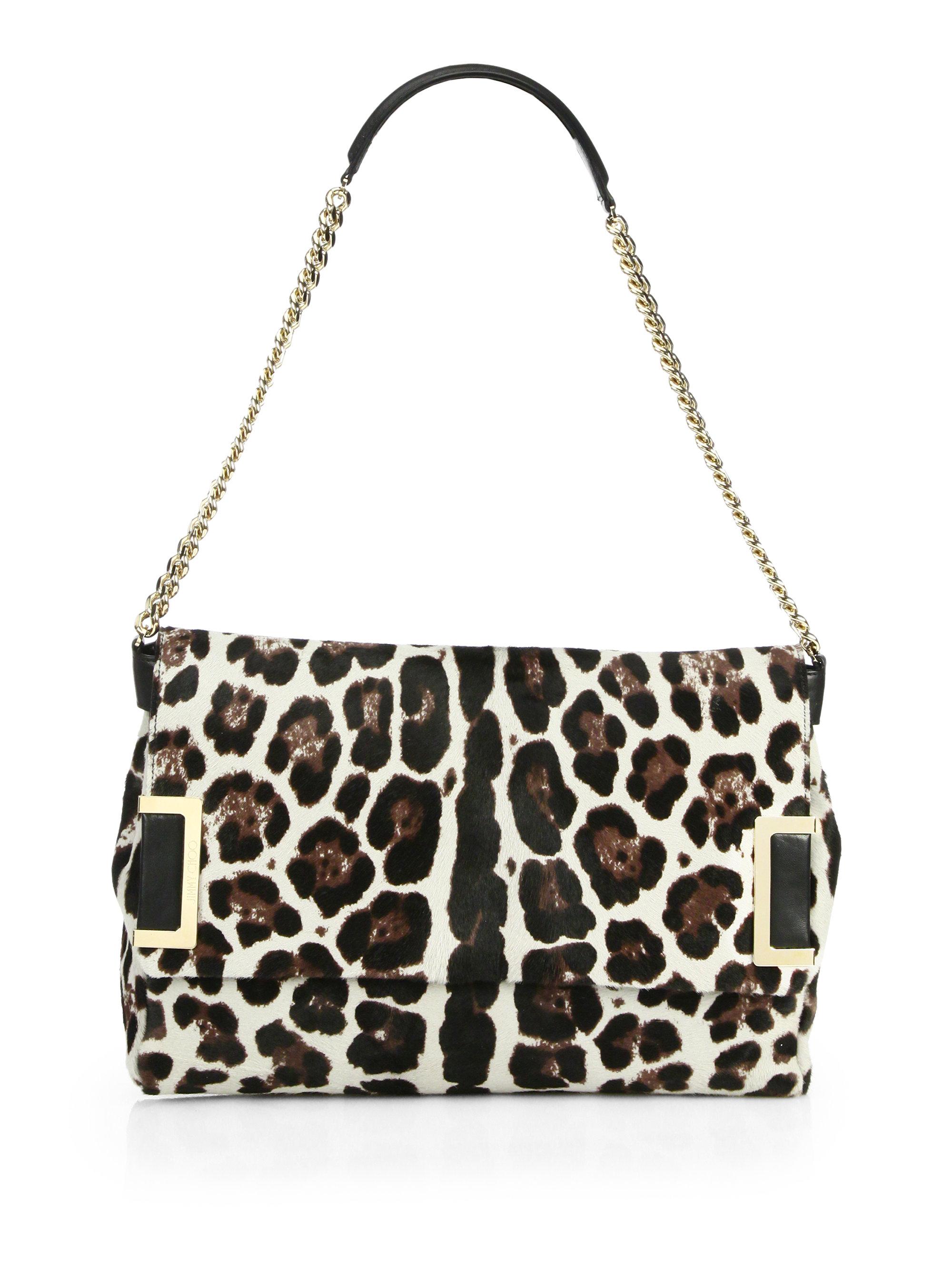 13bfe4ff7755 Jimmy Choo Ally Leopardprint Calf Hair Shoulder Bag - Lyst