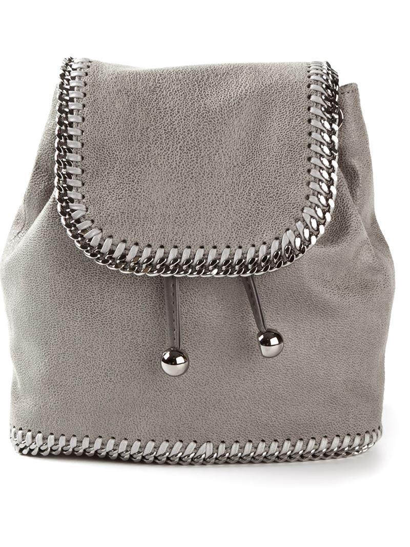 lyst stella mccartney 39 falabella 39 backpack in gray. Black Bedroom Furniture Sets. Home Design Ideas