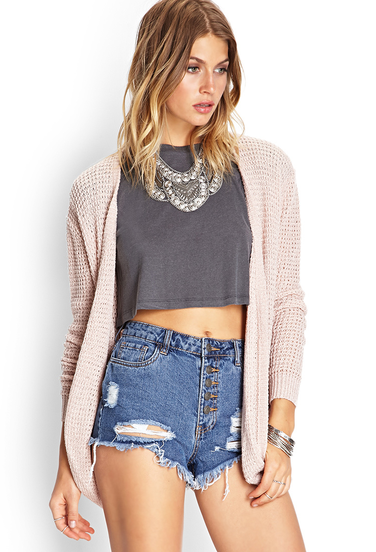 forever 21 draped pocket kimono cardigan in pink lyst