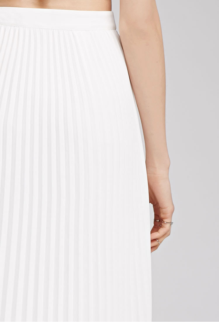 forever 21 accordion pleat midi skirt in white lyst