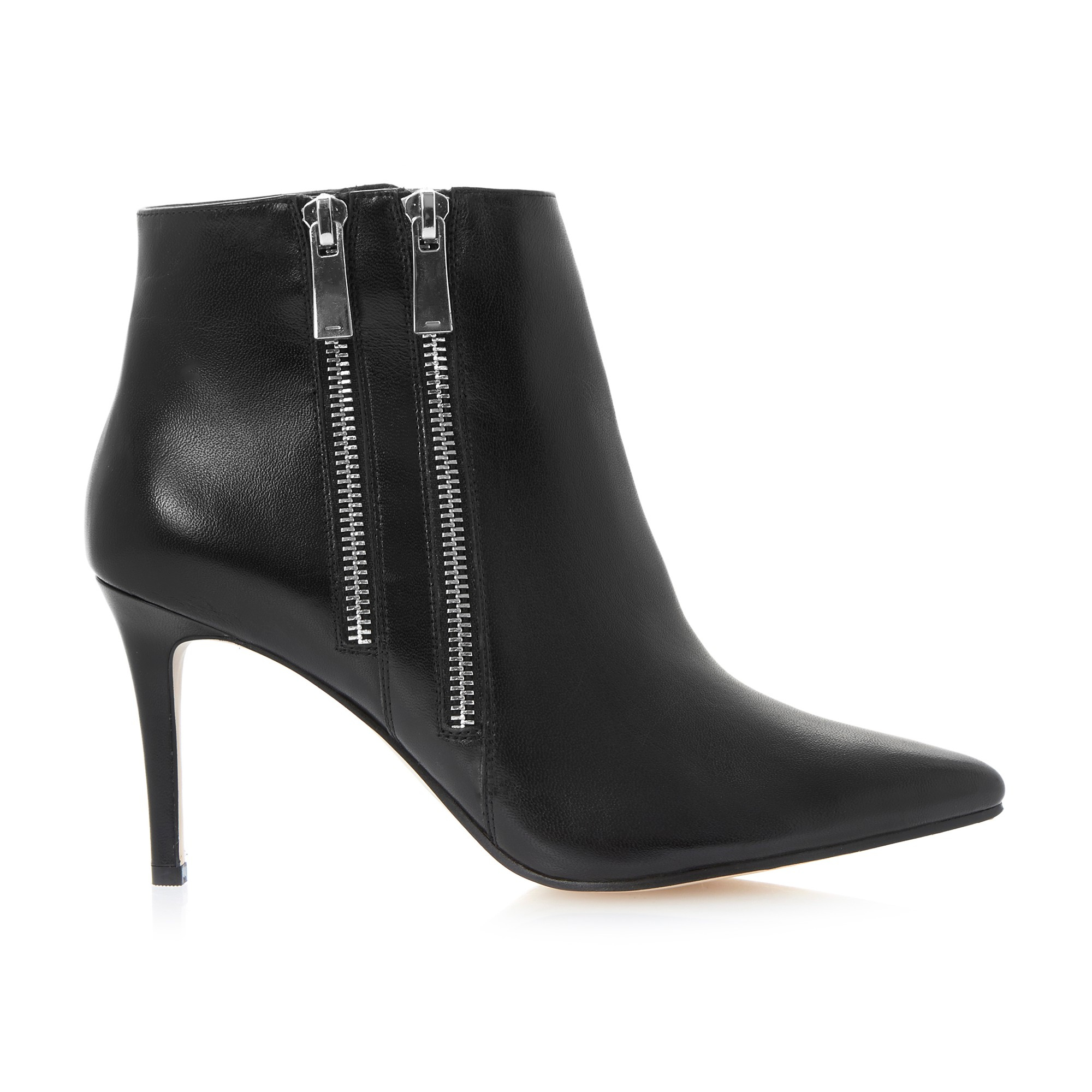 Dune Namedrop Leather Ankle Boots in Black