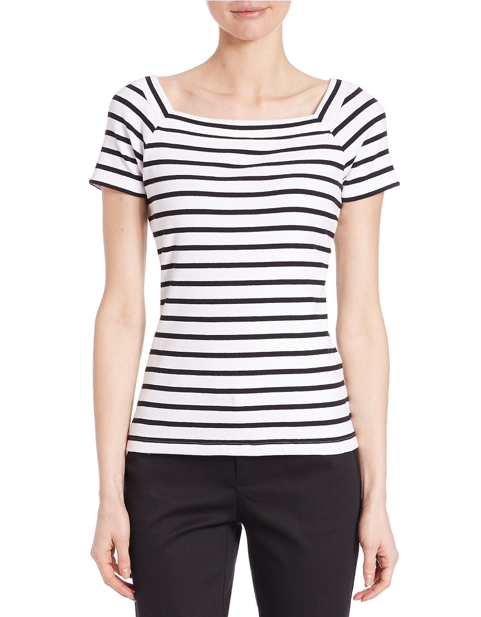 Lyst Lord Taylor Petite Ribbed Tee Shirt In Black