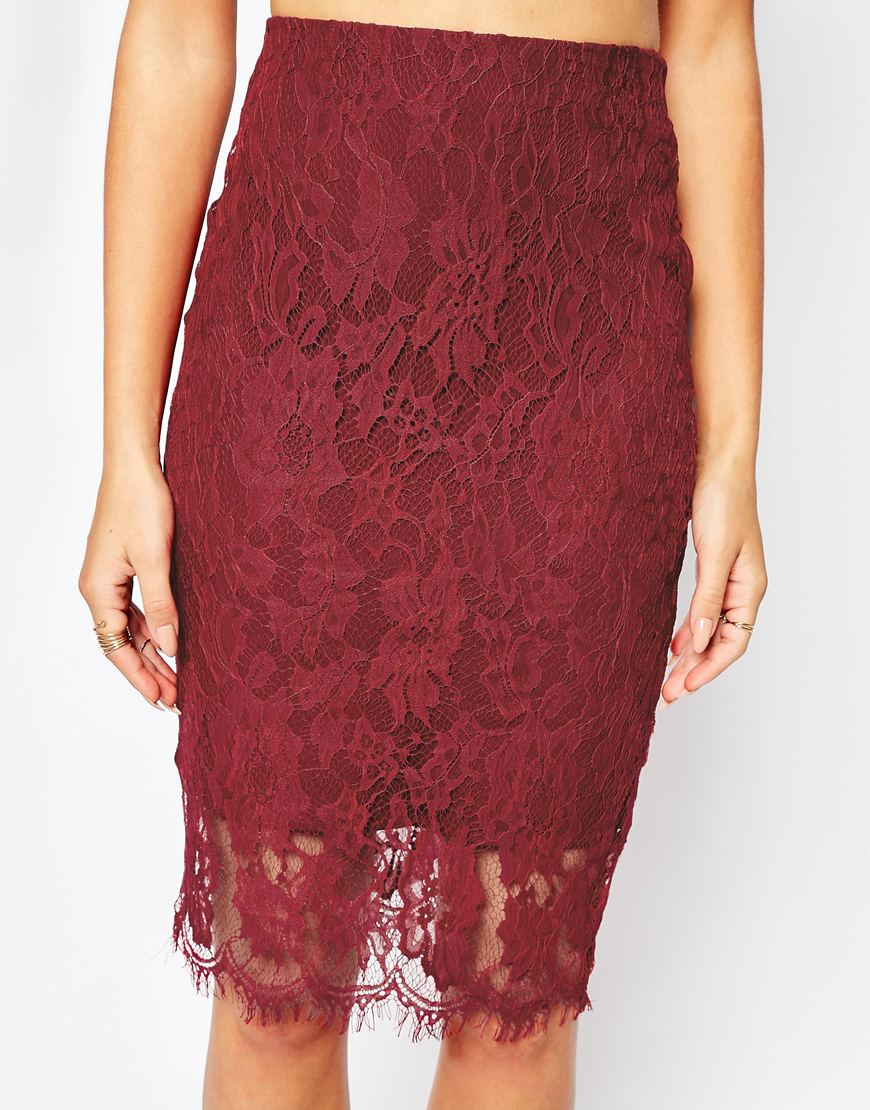 Missguided Lace Pencil Skirt in Purple   Lyst