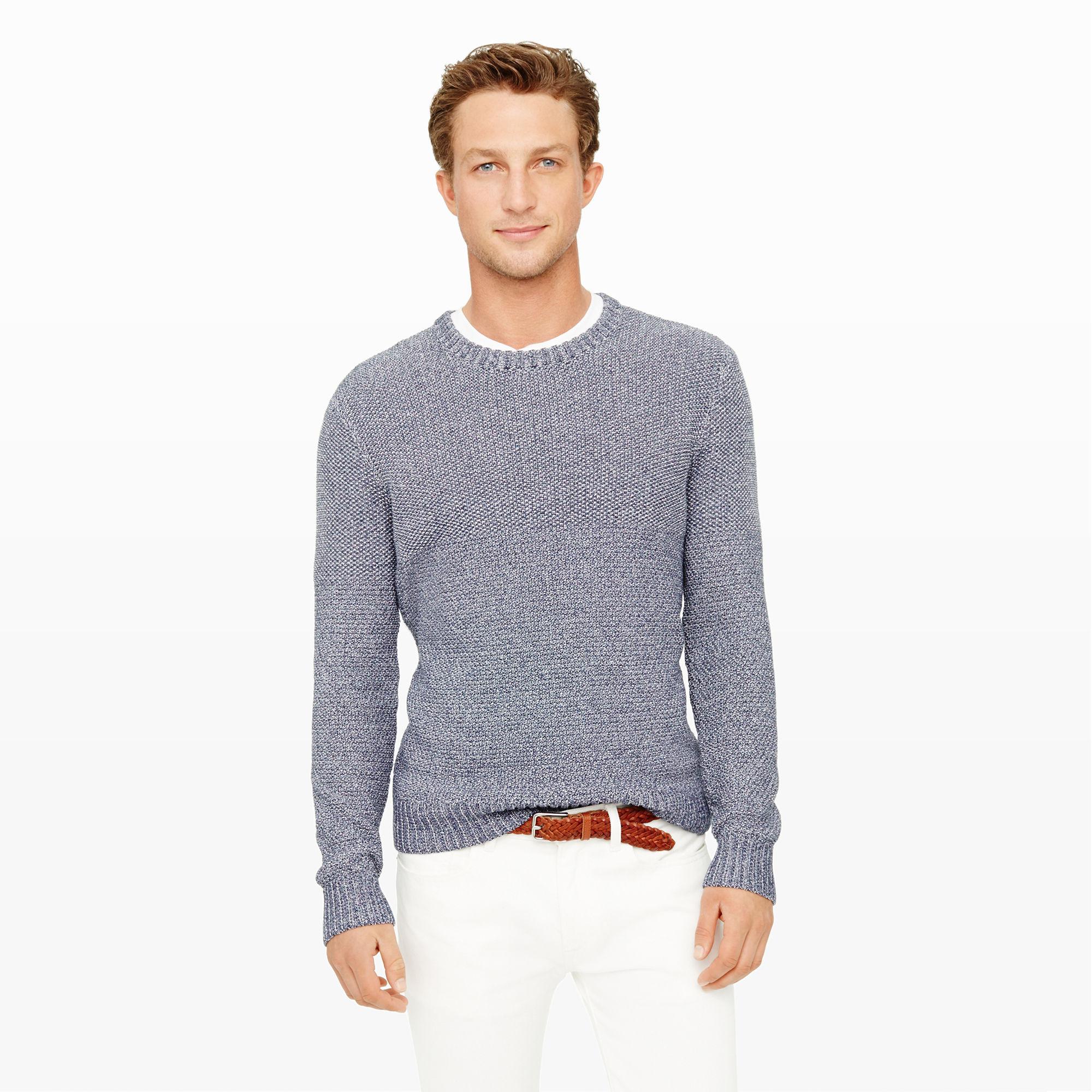 Club monaco Split-Stitch Crewneck Sweater in Blue for Men | Lyst
