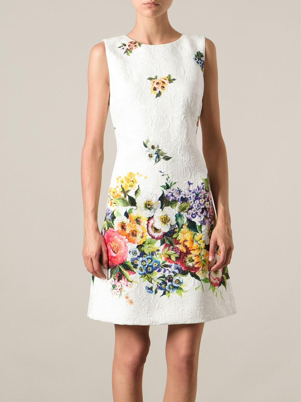 Lyst Dolce Gabbana Floral Print Dress In White