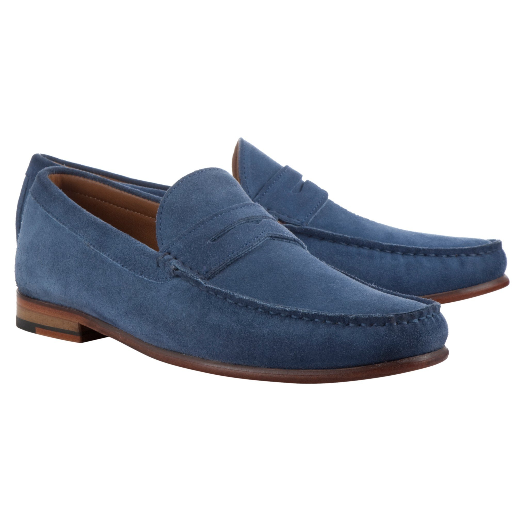 c40b44938ab John Lewis Lloyd Suede Penny Loafers in Blue for Men - Lyst