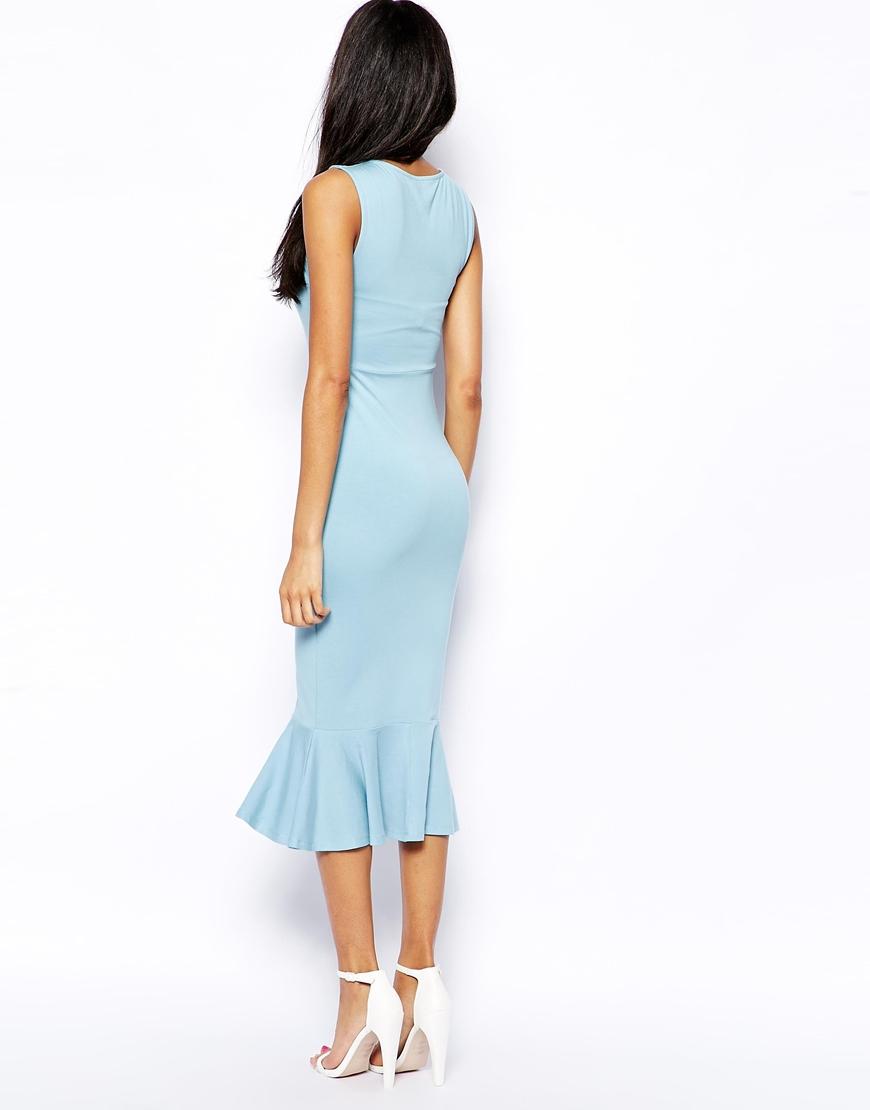 asos peplum hem midi pencil dress in blue lyst. Black Bedroom Furniture Sets. Home Design Ideas