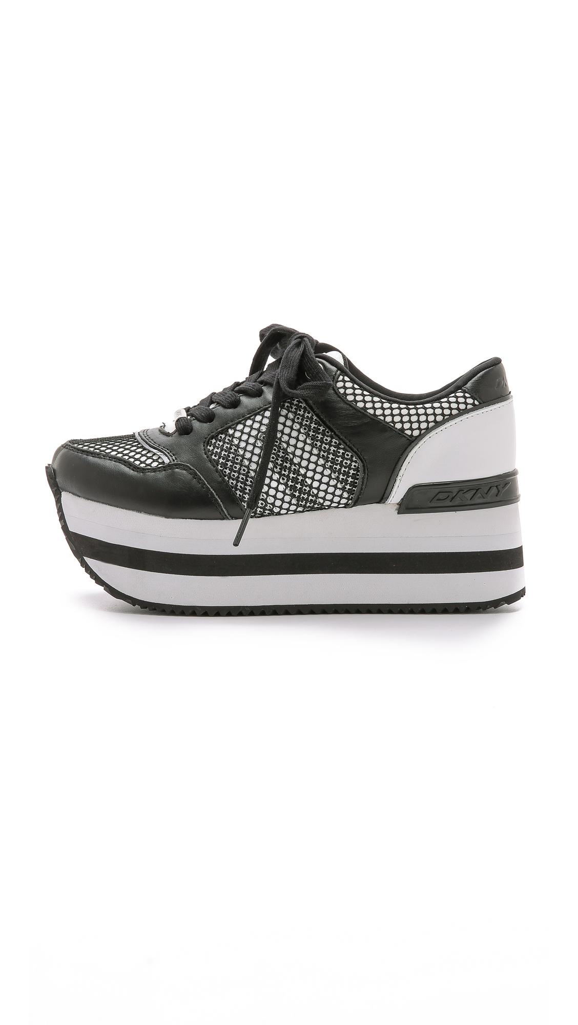 0a11f861879 Lyst - DKNY Jill Platform Sneakers - White black in White