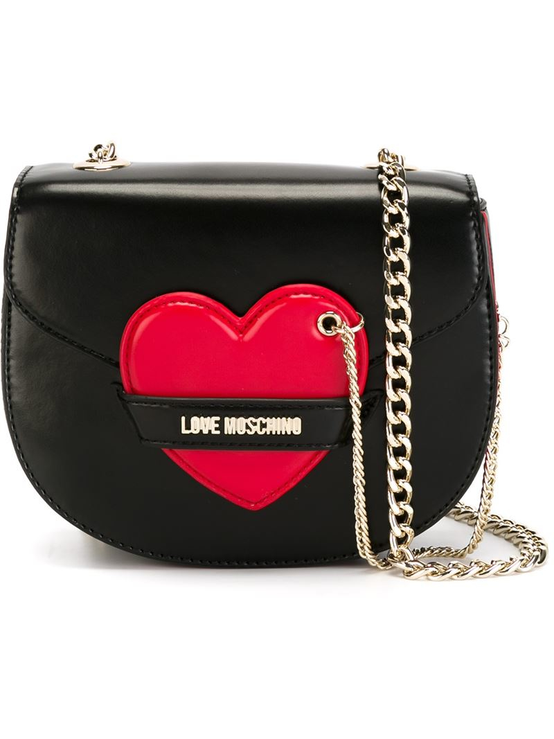 49c08b1f65 Love Moschino Heart Detail Shoulder Bag in Black - Lyst
