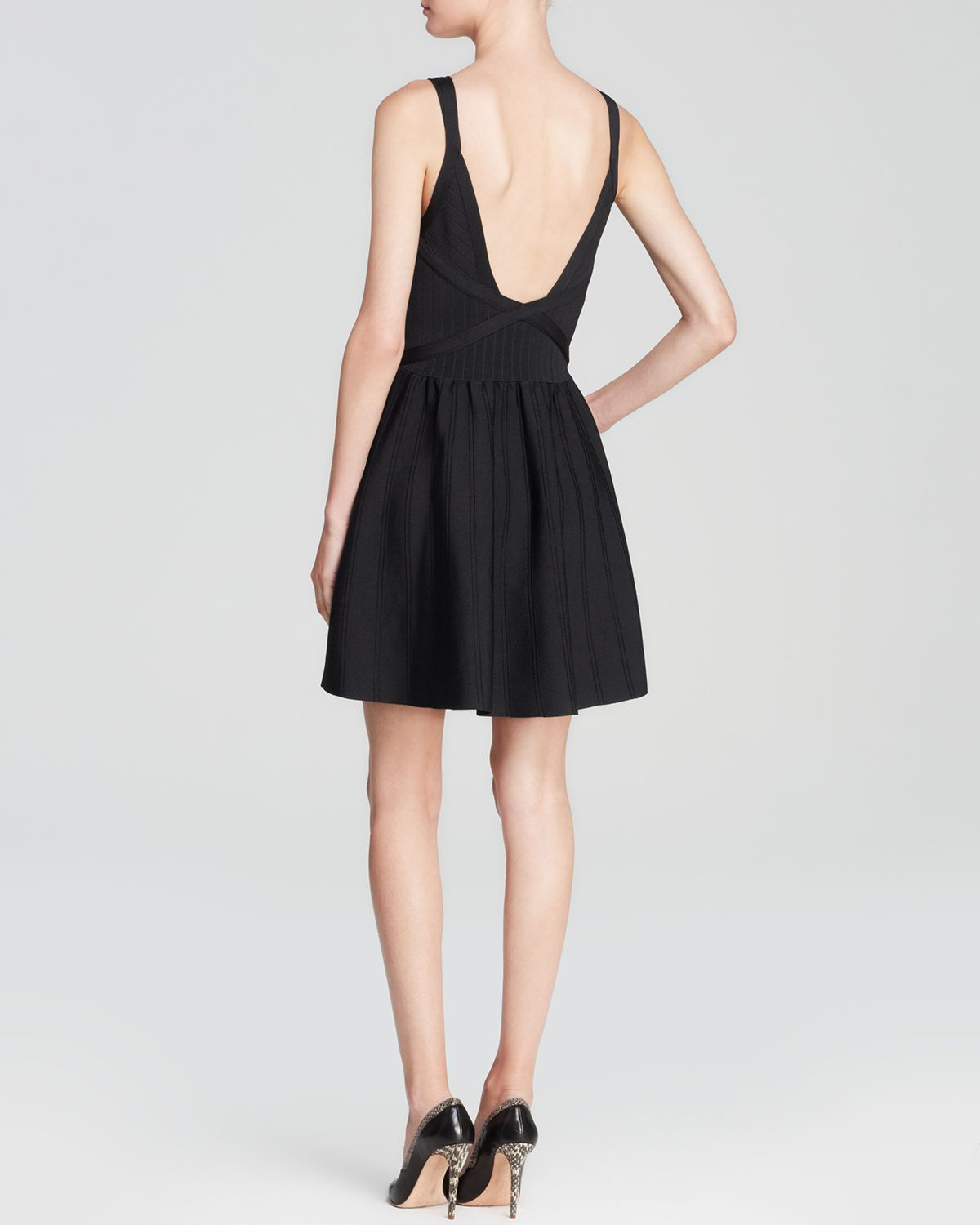 Guess Double Strap Fit And Flare Dress In Black Lyst