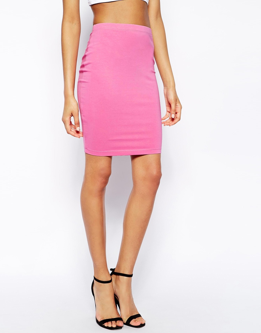 asos knee length pencil skirt in jersey in pink lyst