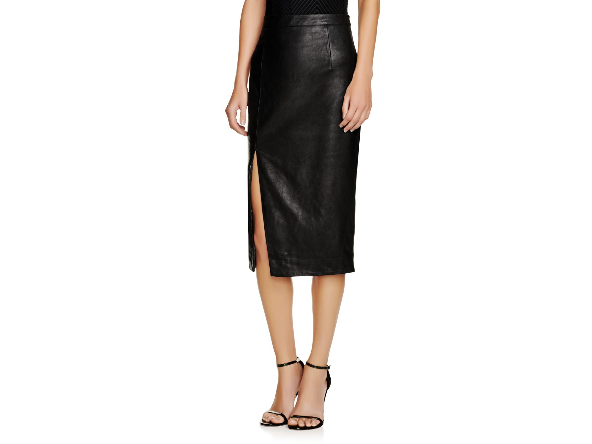 Bardot Faux Leather Side Slit Pencil Skirt in Black | Lyst