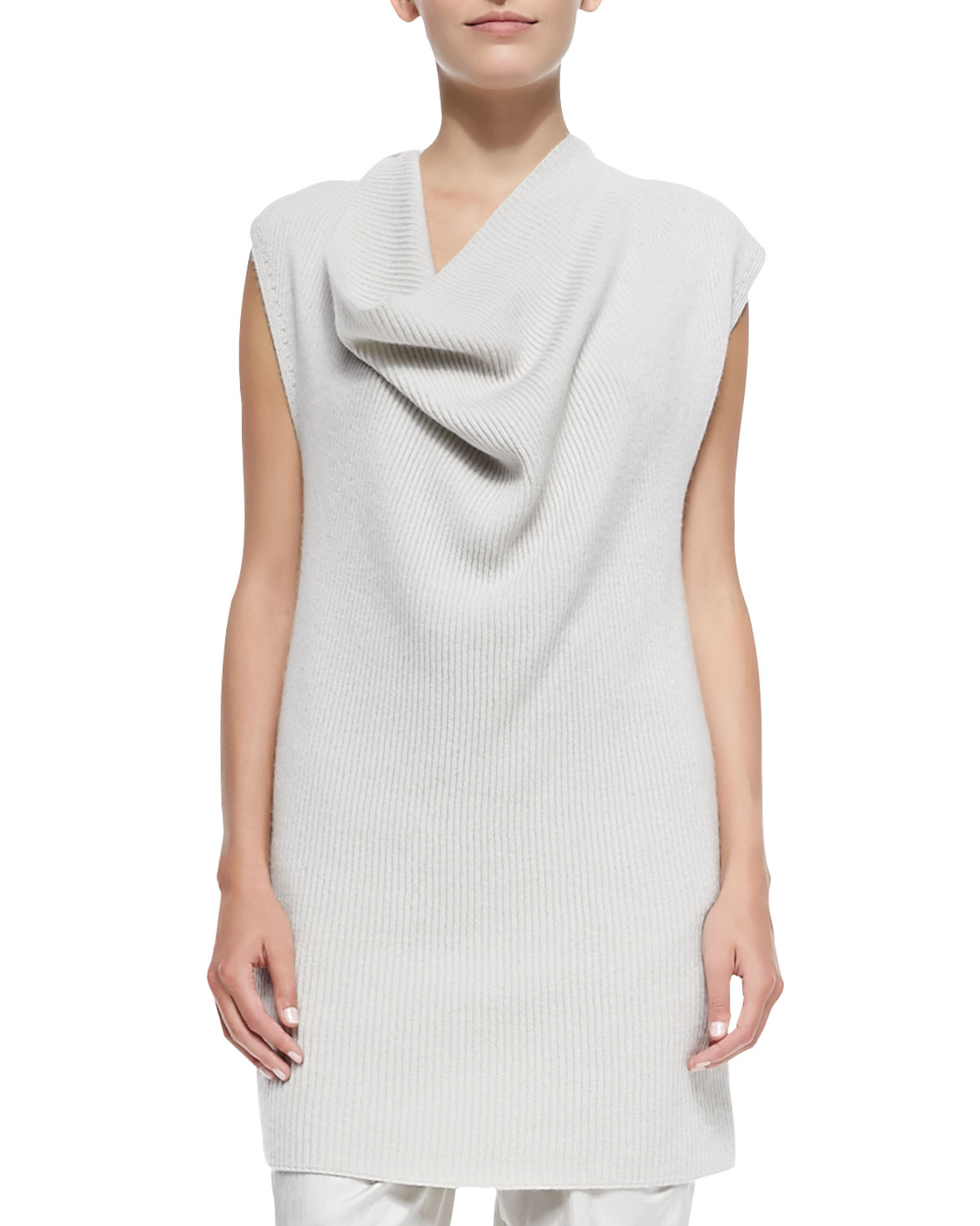 Donna karan Ribbed Cashmere Draped-neck Tunic Sweater in White | Lyst