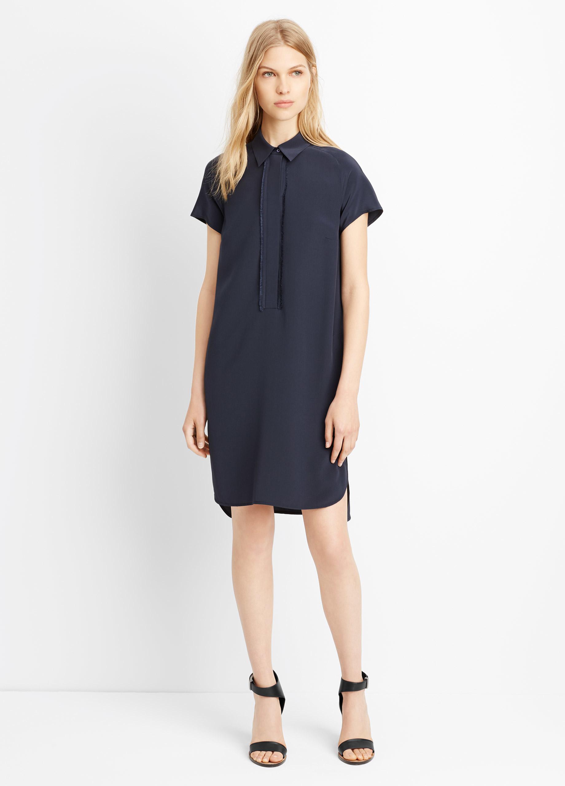 Lyst Vince Half Placket Short Sleeve Shirt Dress In Blue