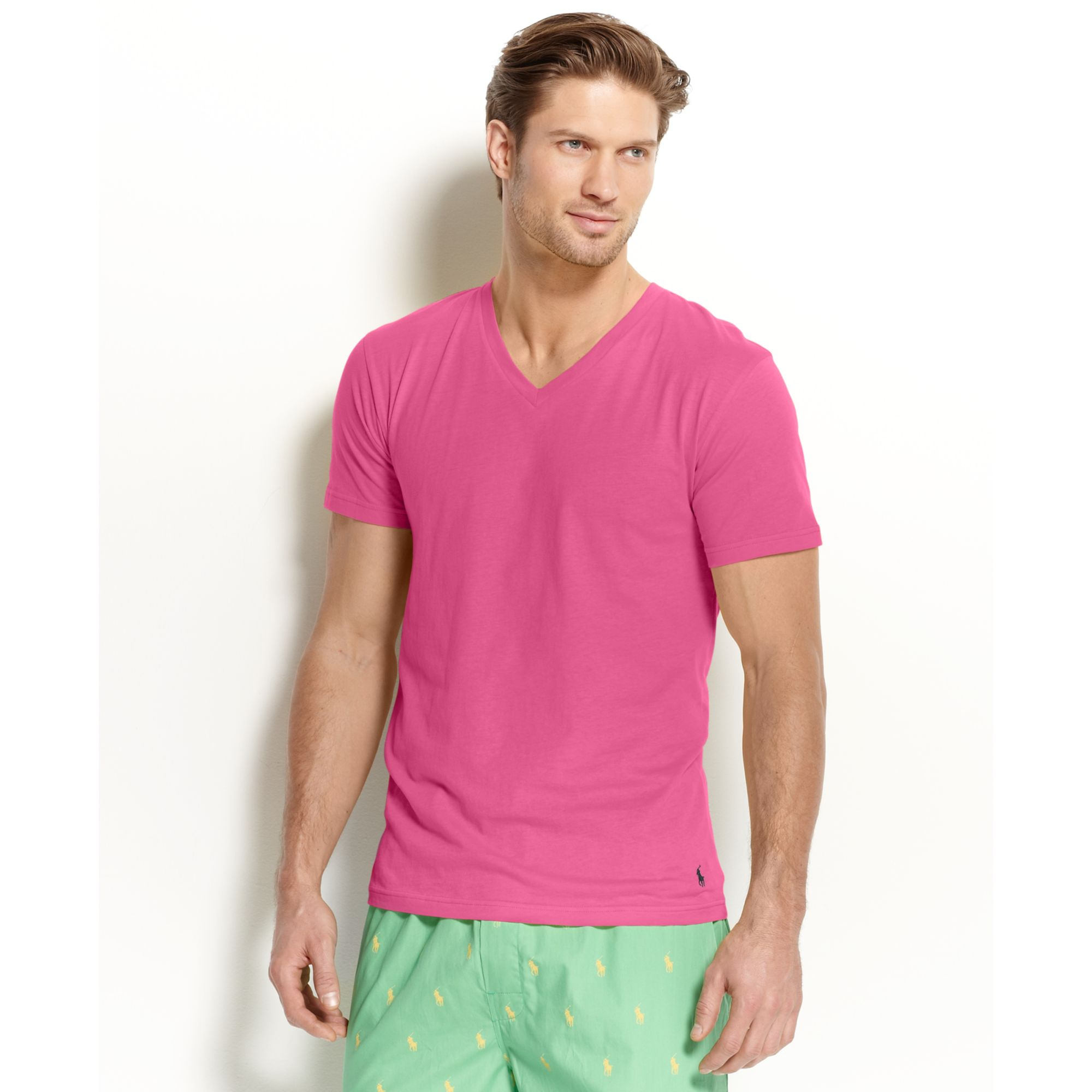Ralph lauren Polo Mens Enzyme Vneck Tshirt in Pink for Men | Lyst