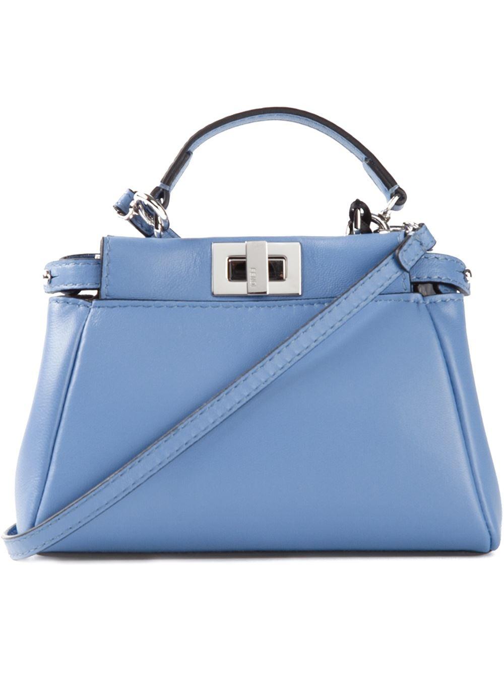 01142f04072e ... coupon code for lyst fendi peekaboo mini cross body bag in blue e53c3  2be7e