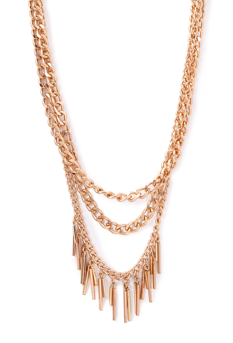 forever 21 layered chain matchstick necklace in gold lyst
