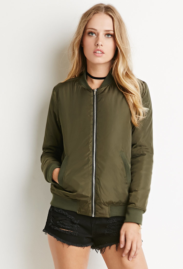 d37ca3c55 Forever 21 Zippered Bomber Jacket in Green - Lyst