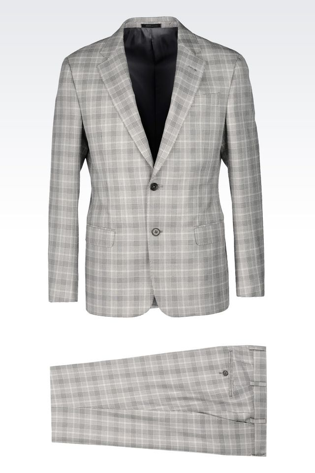 armani comfort fit suit in prince of wales in gray for men lyst. Black Bedroom Furniture Sets. Home Design Ideas