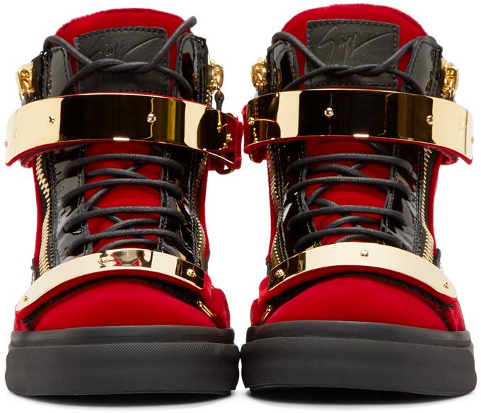 95772c303c9 Lyst - Giuseppe Zanotti Red Velvet High-top Sneakers in Red for Men