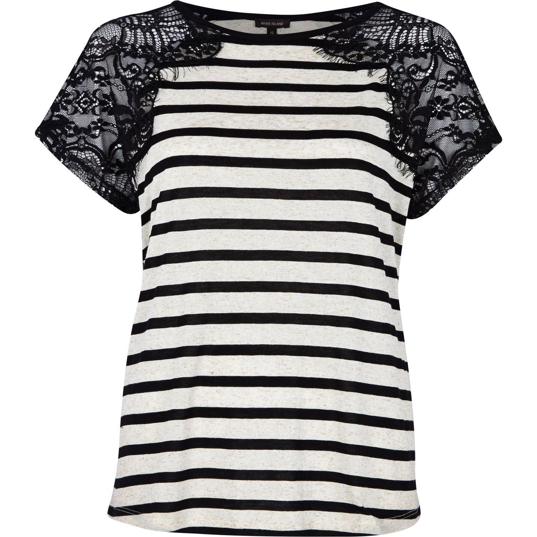 Lace Shoulder River Tshirt Black White Stripe Island Nnvwm80