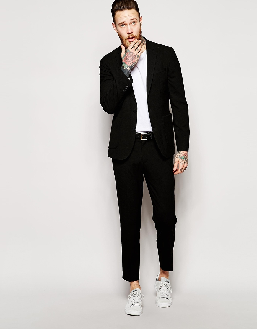 Asos Skinny Fit Suit Trousers In Seersucker in Black for Men | Lyst