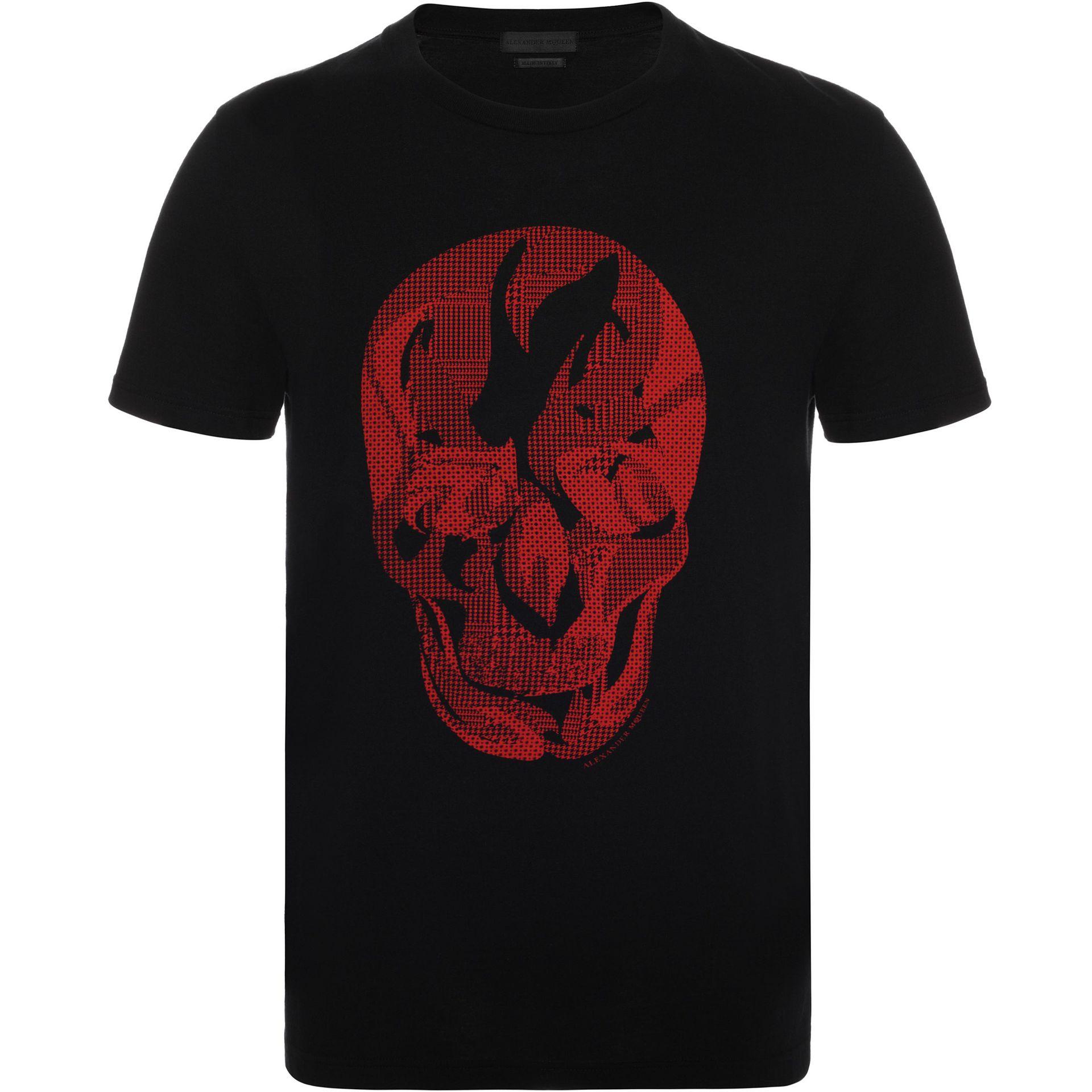 Lyst alexander mcqueen contrast pattern skull print t for Alexander mcqueen shirt men