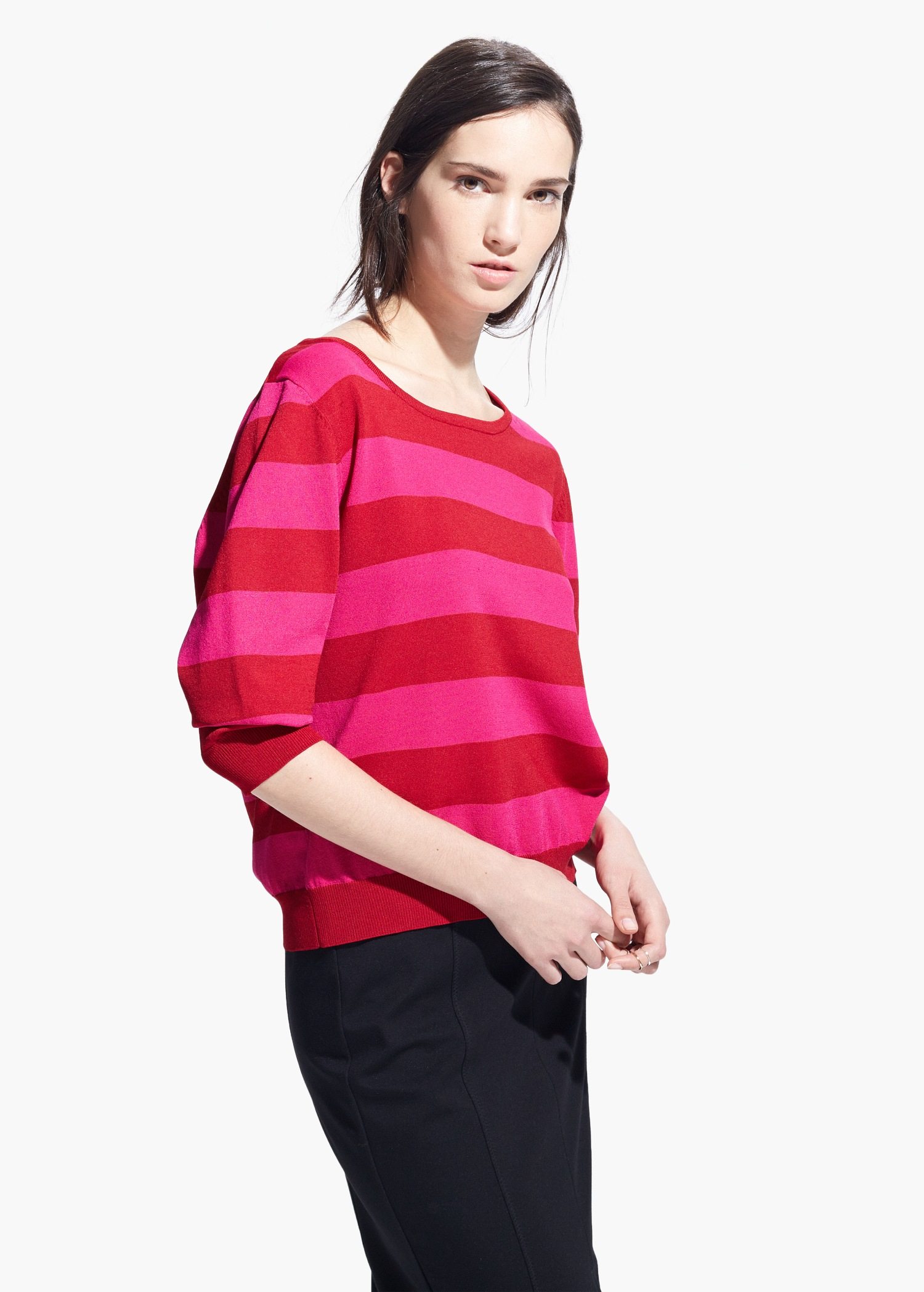 Mango Fine-Knit Striped Sweater in Red | Lyst