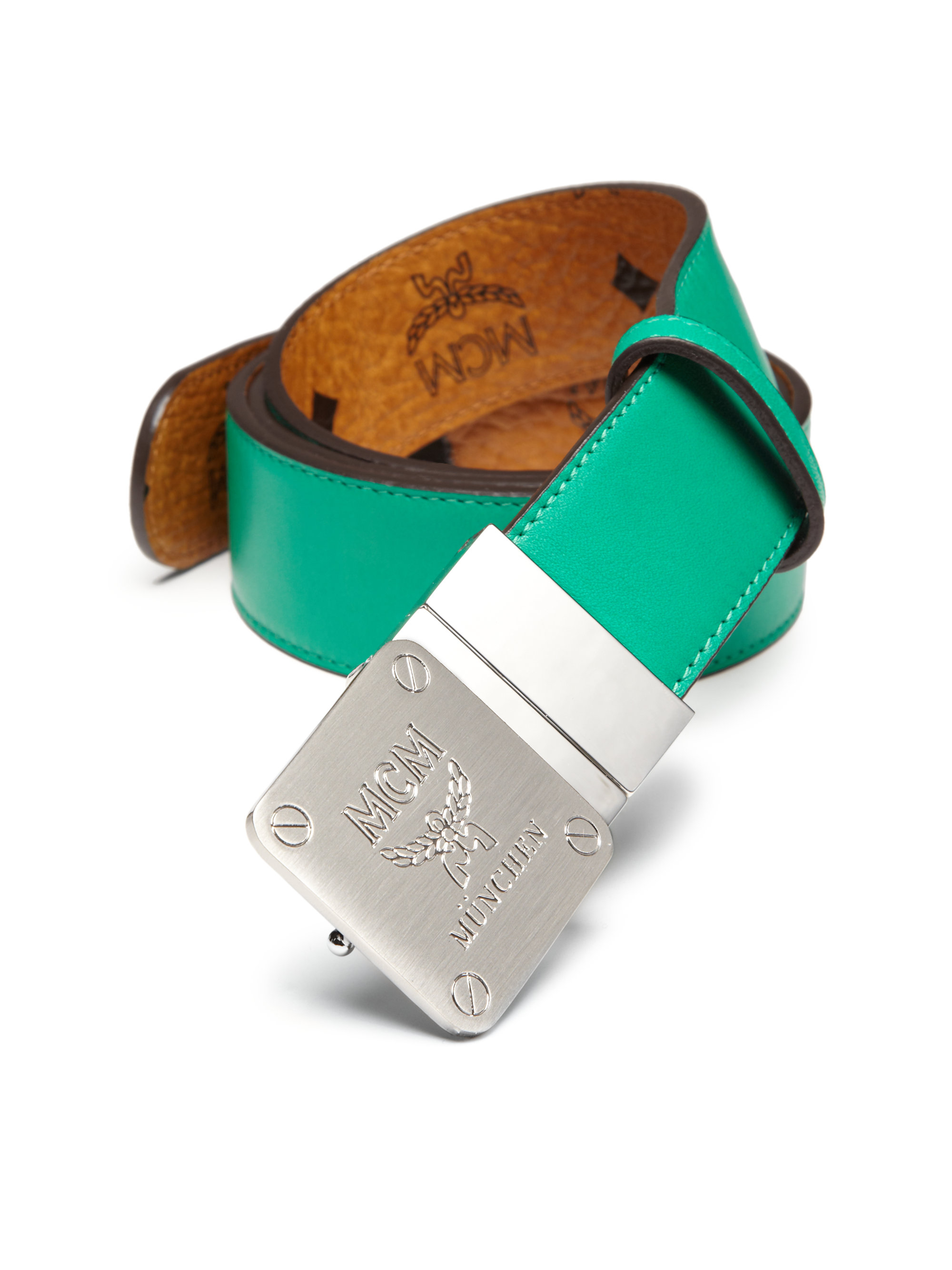 mcm reversible leather belt in green for lyst