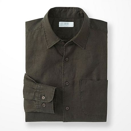 Uniqlo premium linen long sleeve shirt in green for men for Uniqlo premium t shirt