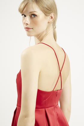 Topshop petite plunge neck satin dress in red lyst