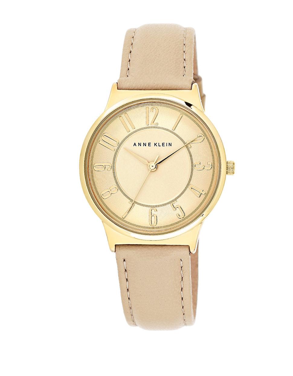 Lyst anne klein goldtone leather strap watch in brown for Anne klein leather strap
