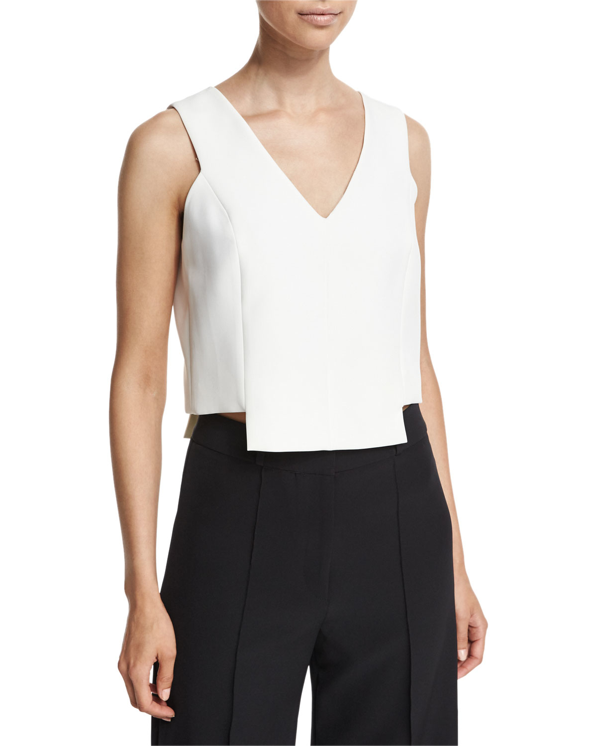 Milly Sleeveless Cady V-neck Cropped Shell In White