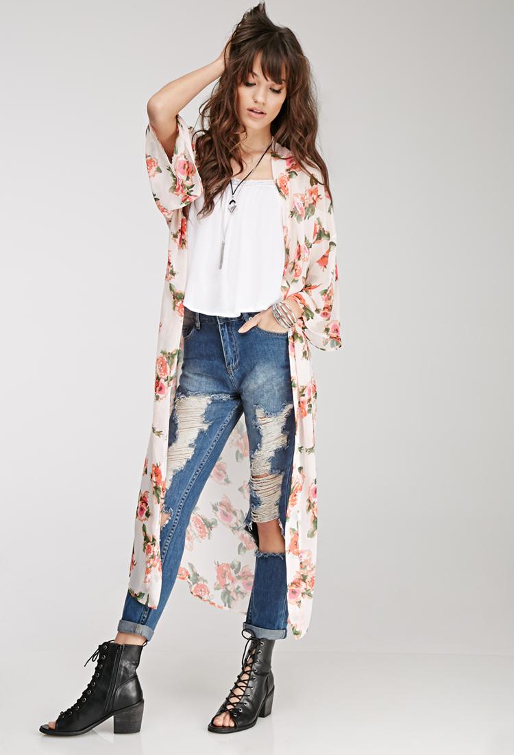 Forever 21 Longline Rose Print Kimono in Multicolor (PEACH ...