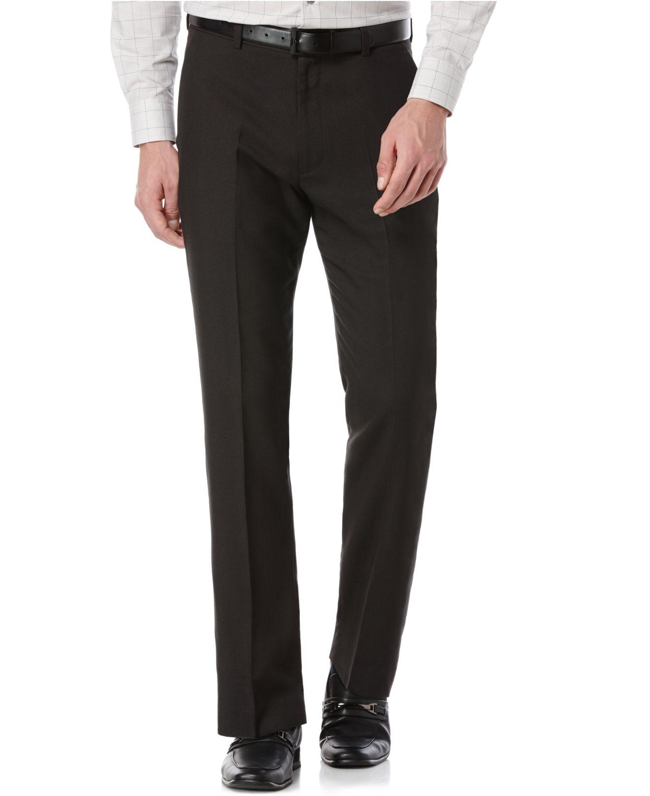 Perry Ellis Micro Check Dress Pants In Brown For Men Dark