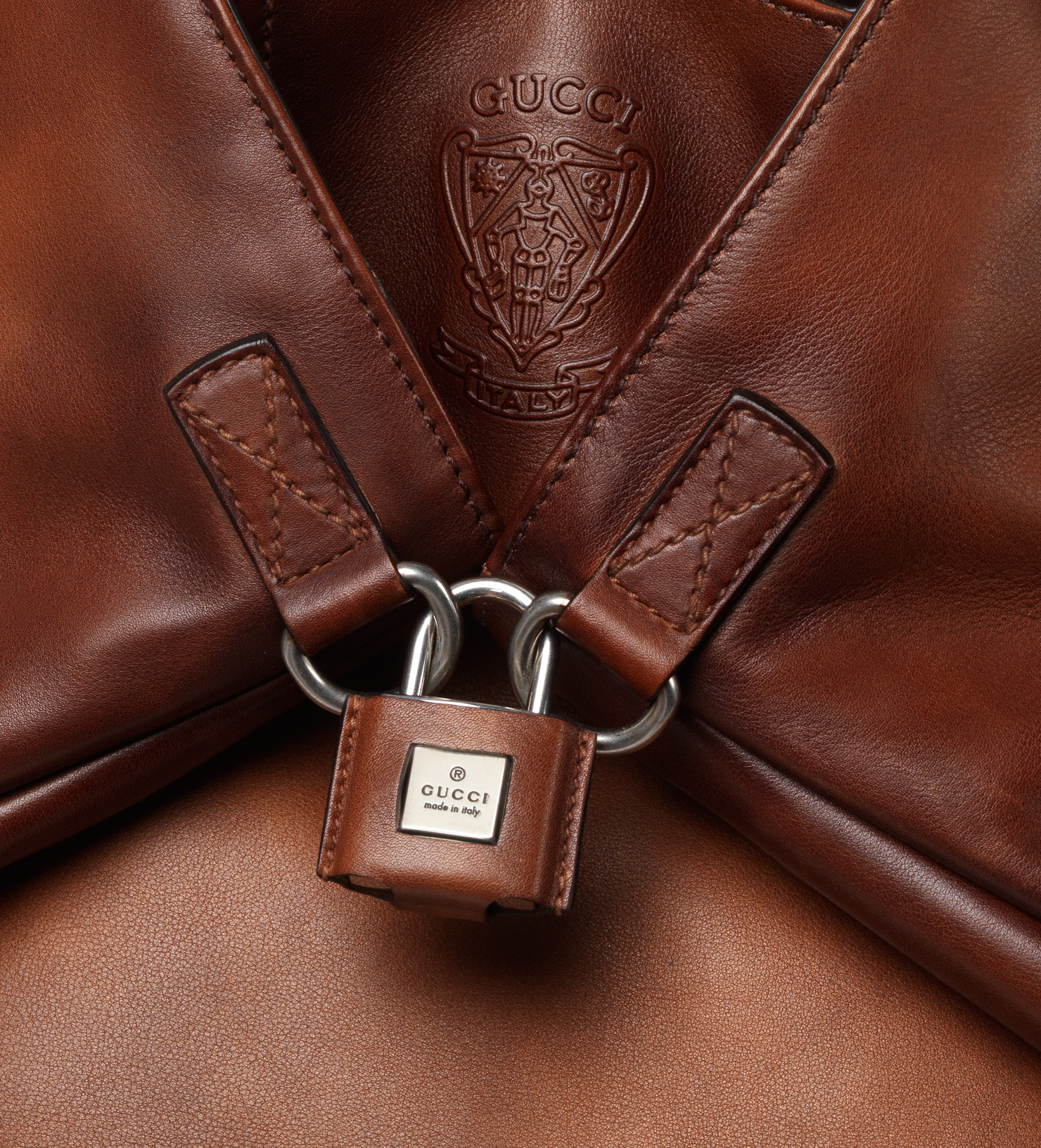 Lyst Gucci Gactive Dark Brown Leather Backpack In Brown