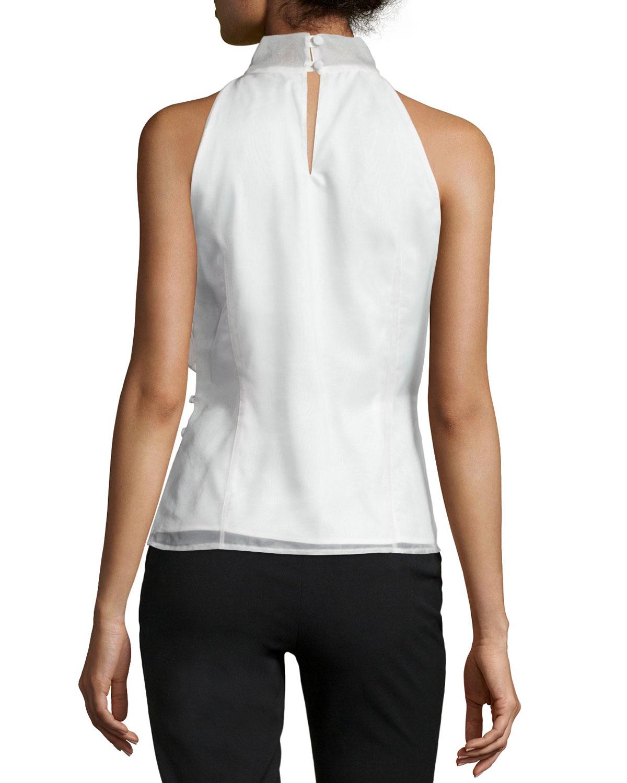 e918812579 MILLY Gwyneth Silk Organza Halter Top in White - Lyst