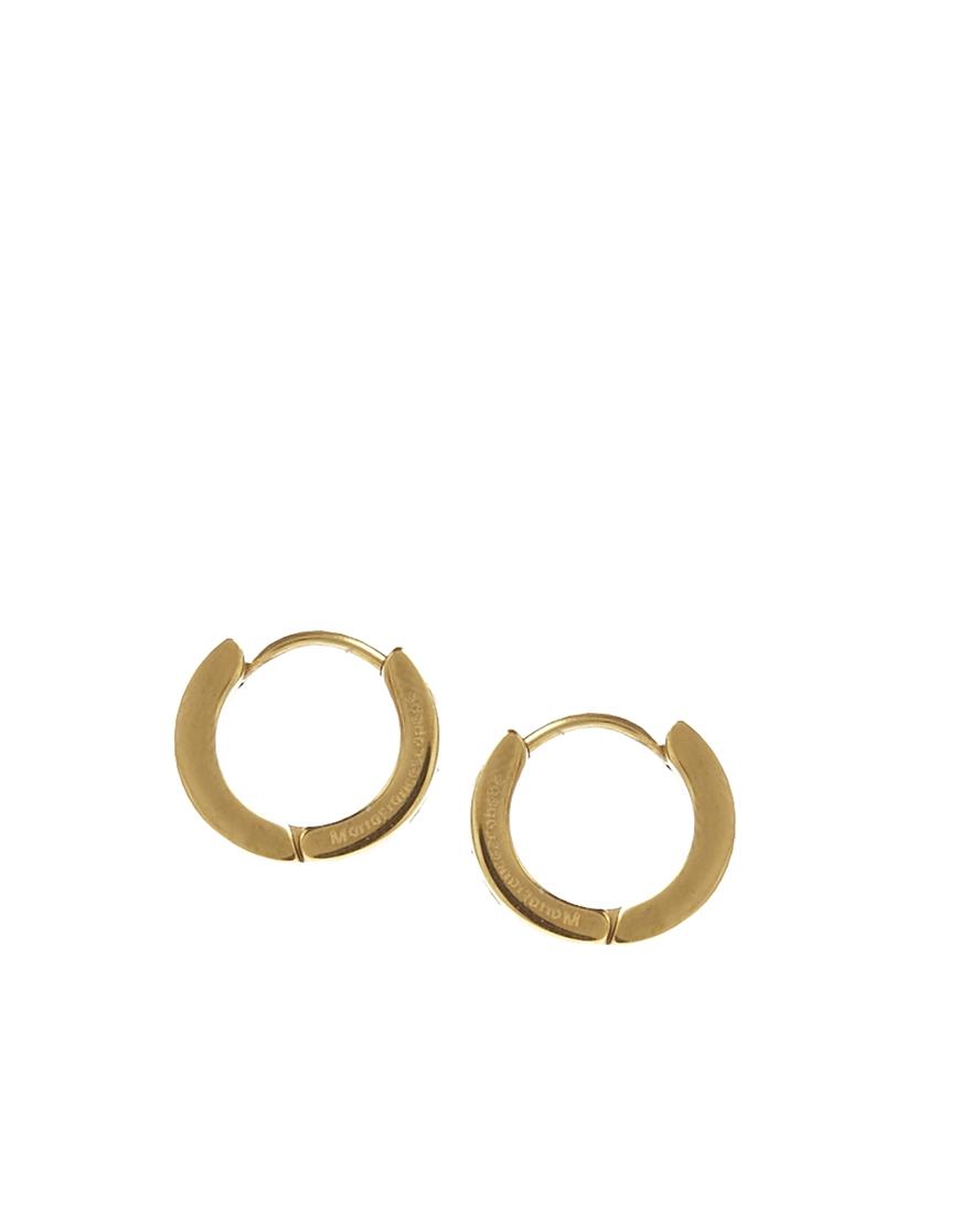 7ea05265447e9 Maria Francesca Pepe Metallic Encrusted Gold Hoop Earrings