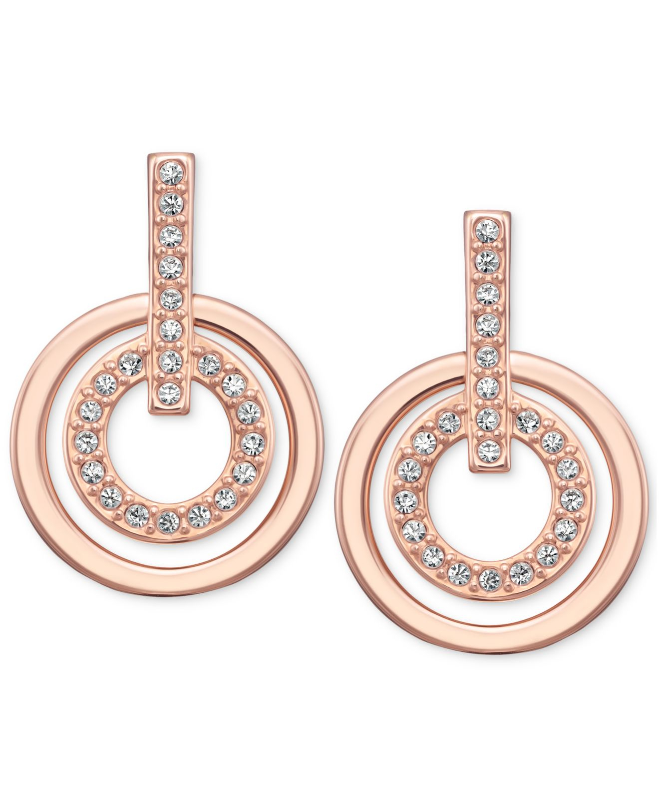 0ece886ead31 Lyst Swarovski Rose Gold Tone Pavè Crystal Circle Drop Earrings In
