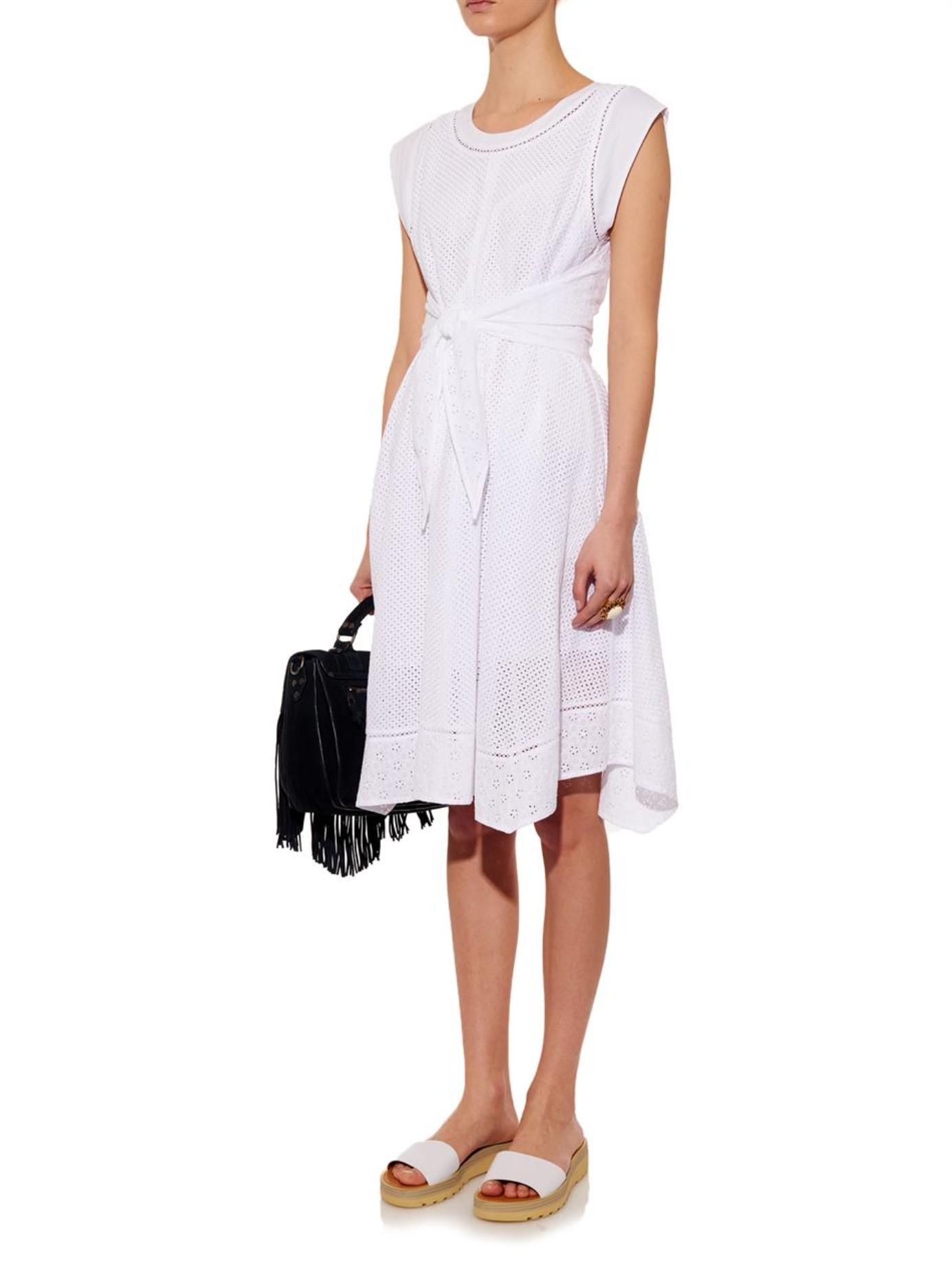 fb21522f121 Rebecca Taylor White Eyelet-detailed Cotton Dress